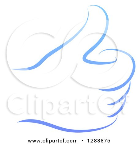 Clipart of a Gradient Blue Hand Giving a Thumb up - Royalty Free Vector Illustration by AtStockIllustration
