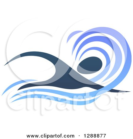 Clipart of a Silhouetted Dark Blue Swimmer in a Wave - Royalty Free Vector Illustration by AtStockIllustration