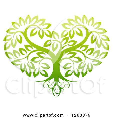 Clipart of a Gradient Green Heart Shaped Tree with Roots and Leafy Branches - Royalty Free Vector Illustration by AtStockIllustration