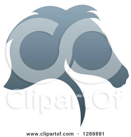 Clipart of a Gradient Gray Horse Head Silhouette in Profile - Royalty Free Vector Illustration by AtStockIllustration