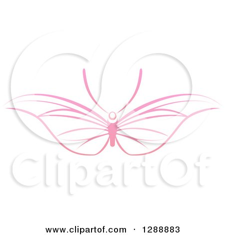 Clipart of a Pink Butterfly with Wide Wings - Royalty Free Vector Illustration by AtStockIllustration