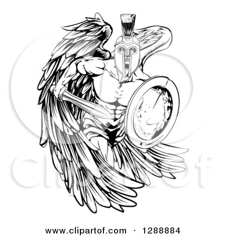Clipart of a Black and White Spartan Trojan Warrior Guardian Angel with a Sword and Shield - Royalty Free Vector Illustration by AtStockIllustration