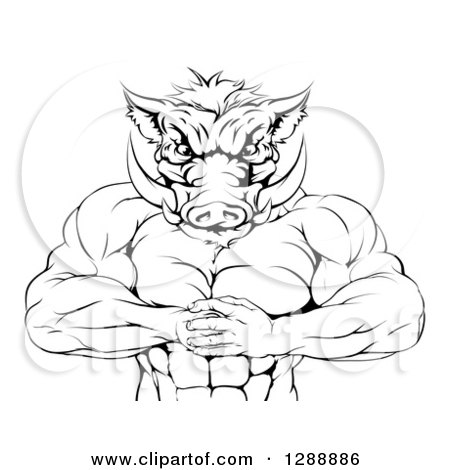 Clipart of a Black and White Muscular Aggressive Boar Man Mascot Gesturing Bring It - Royalty Free Vector Illustration by AtStockIllustration