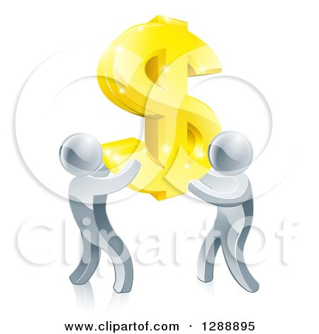 Clipart of a Team of 3d Silver Men Carrying a Giant Gold USD Dollar Symbol - Royalty Free Vector Illustration by AtStockIllustration