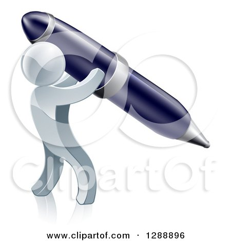 Clipart of a 3d Silver Man Using a Giant Pen - Royalty Free Vector Illustration by AtStockIllustration