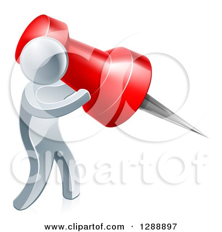 Clipart of a 3d Silver Man Carrying a Giant Red Pin - Royalty Free Vector Illustration by AtStockIllustration