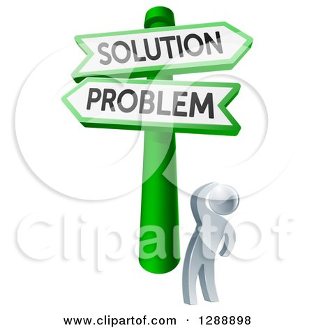 Clipart of a 3d Silver Man Looking up at Problem and Solution Crossroads Signs - Royalty Free Vector Illustration by AtStockIllustration