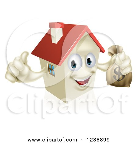 Clipart of a Happy House Character Holding a Thumb up and a Dollar Money Bag - Royalty Free Vector Illustration by AtStockIllustration