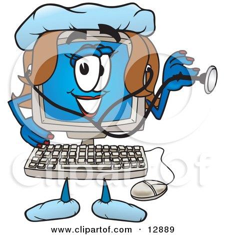 Desktop Computer Mascot Cartoon Character Posters, Art Prints