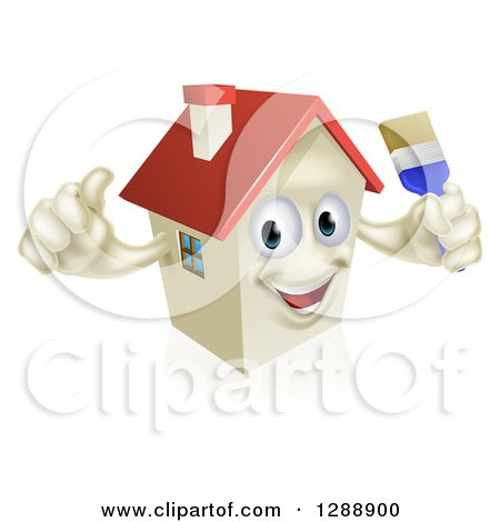 Clipart of a Happy House Character Holding a Thumb up and a Paintbrush - Royalty Free Vector Illustration by AtStockIllustration