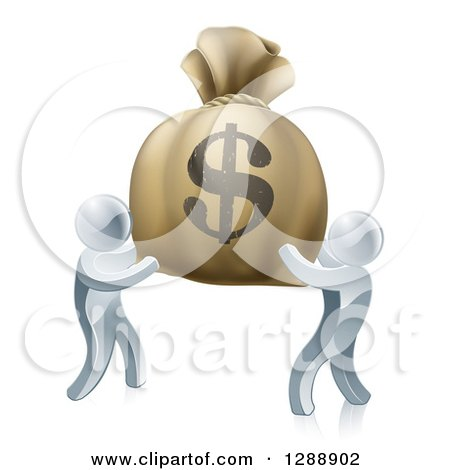 Clipart of 3d Silver Men Carrying a Large Dollar Money Bag - Royalty Free Vector Illustration by AtStockIllustration