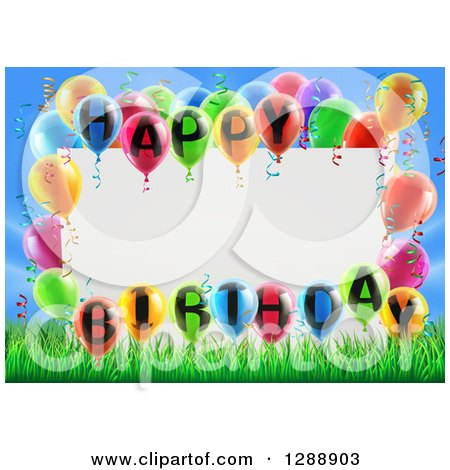 Clipart of a Blank White Sign Framed in Colorful 3d Happy Birthday Balloons over Grass and Blue Sky - Royalty Free Vector Illustration by AtStockIllustration