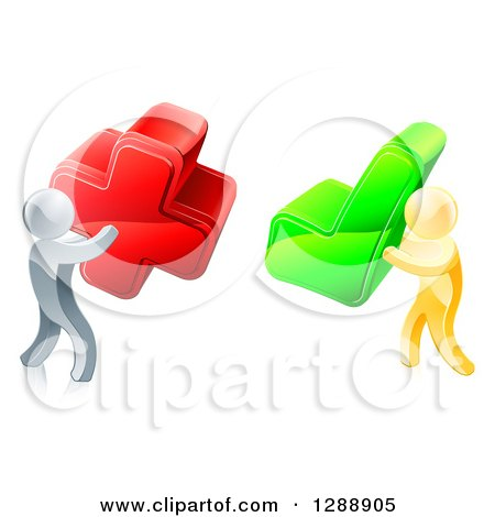 Clipart of 3d Right and Wrong Silver and Gold Men with X and Check Marks - Royalty Free Vector Illustration by AtStockIllustration