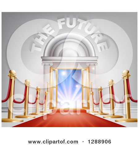 Clipart of 3d the Future Text over Open Doors, Posts and Red Carpet - Royalty Free Vector Illustration by AtStockIllustration