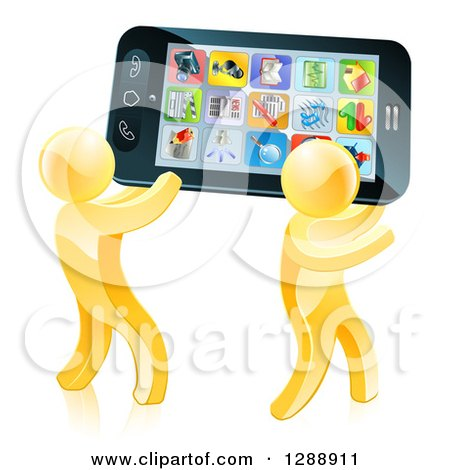 Clipart of 3d Gold Men Carrying a Giant Smart Cell Phone with App Icons on the Screen| Royalty Free Vector Illustration by AtStockIllustration