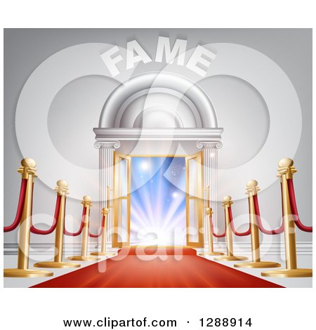 Clipart of a 3d Red Carpet and Posts Leading to Lights in an Open Doorway with Fame Text - Royalty Free Vector Illustration by AtStockIllustration