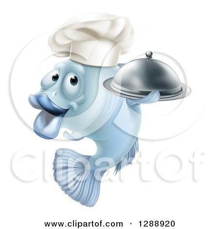 Clipart of a Cartoon Blue Chef Fish Holding a Cloche Platter - Royalty Free Vector Illustration by AtStockIllustration