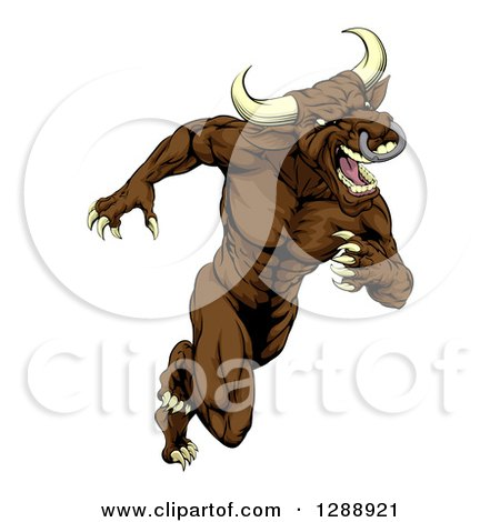 Clipart of a Muscular Aggressive Brown Bull Man Mascot Running Upright - Royalty Free Vector Illustration by AtStockIllustration