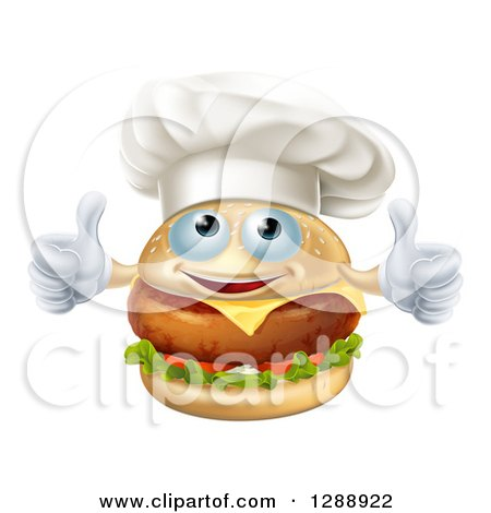 Clipart Of A Happy Cheeseburger Chef Character Giving Two Thumbs Up Royalty Free Vector Illustration