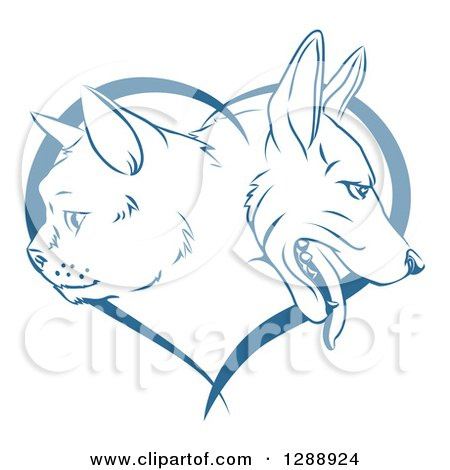 Clipart of Blue Cat and Dog Faces in Profile over a Heart - Royalty Free Vector Illustration by AtStockIllustration