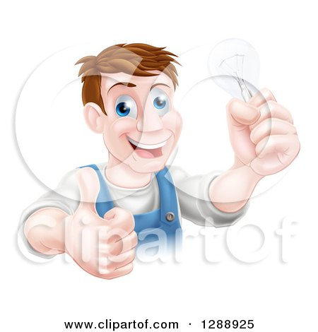 Clipart of a Happy Brunette Middle Aged White Male Electrician Giving a Thumb up and Holding a Light Bulb over a Sign - Royalty Free Vector Illustration by AtStockIllustration