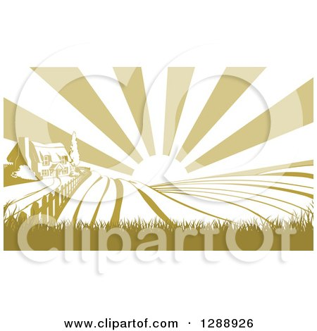 Clipart of a Sunrise over a Green Silhouetted Farm House and Fields - Royalty Free Vector Illustration by AtStockIllustration