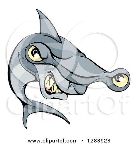 Clipart of a Cartoon Aggressive Grinning Hammerhead Shark - Royalty Free Vector Illustration by AtStockIllustration