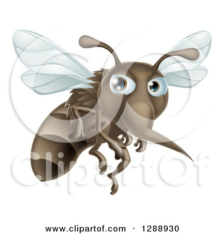 Clipart of a Mean Mosquito Flying to the Right - Royalty Free Vector Illustration by AtStockIllustration