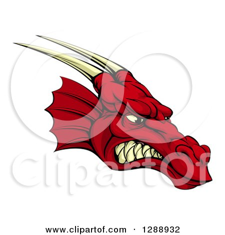Clipart of a Snarling Angry Red Dragon Head with Horns - Royalty Free Vector Illustration by AtStockIllustration