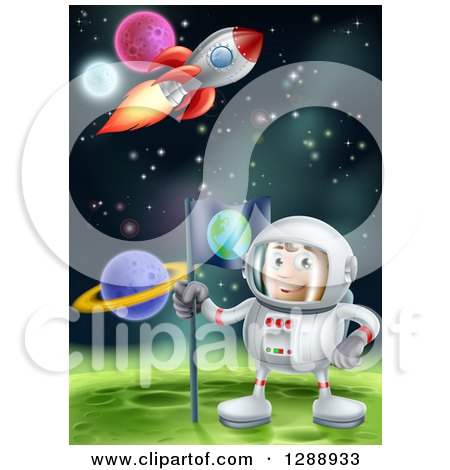 Clipart of a Happy Caucasian Male Astronaut Planting an Earth Flag on a Foreign Planet in Outer Space, with a Rocket Flying Above - Royalty Free Vector Illustration by AtStockIllustration