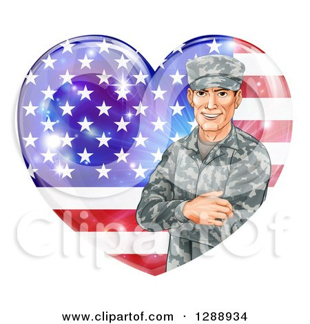 Clipart Of A Happy Caucasian Male Military Veteran Over An American Flag Heart And Flares Royalty Free Vector Illustration