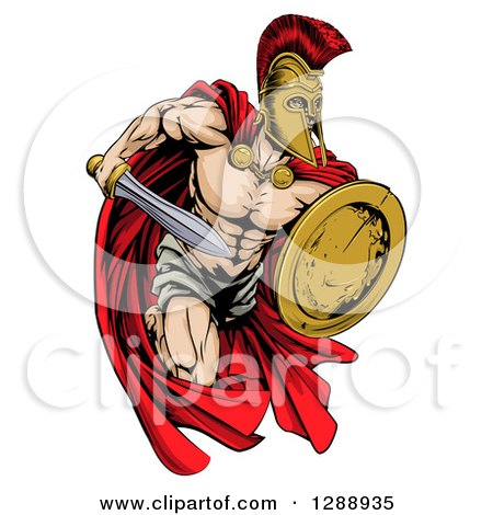 Clipart of a Strong Spartan Trojan Warrior Mascot Running with a Sword and Shield - Royalty Free Vector Illustration by AtStockIllustration