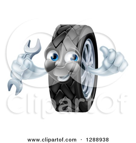 Clipart of a Happy Tire Character Holding a Thumbs up and a Wrench - Royalty Free Vector Illustration by AtStockIllustration