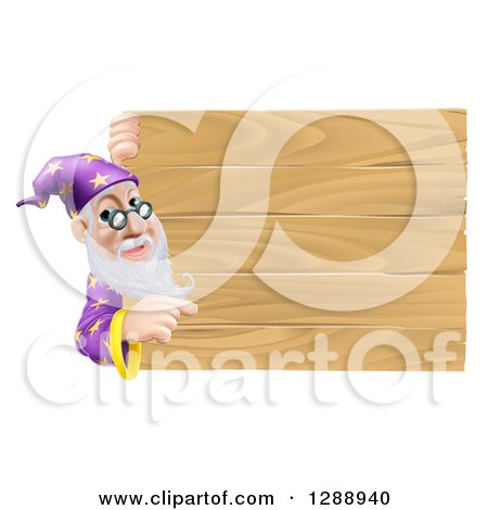 Clipart of a Senior Male Wizard Pointing Around a Plank Wooden Sign - Royalty Free Vector Illustration by AtStockIllustration
