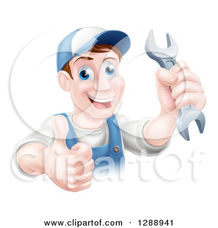 Clipart of a Happy Brunette Middle Aged Caucasian Mechanic Man Holding a Wrench and Thumb up over a Sign - Royalty Free Vector Illustration by AtStockIllustration