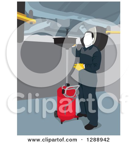 Clipart of a Male Mechanic Garage Worker Performing an Oil Change Under a Lifted Car - Royalty Free Vector Illustration by David Rey