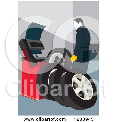 Clipart of a Male Mechanic Garage Worker Preparing a New Set of Tires - Royalty Free Vector Illustration by David Rey