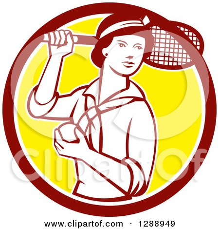 Clipart of a Retro Female Tennis Player Holding a Racket and Ball in a Maroon White and Yellow Circle - Royalty Free Vector Illustration by patrimonio