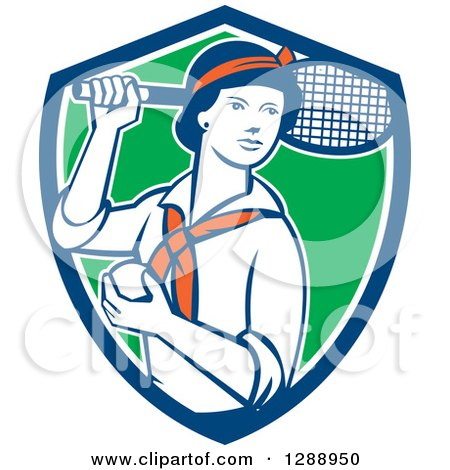Clipart of a Retro Female Tennis Player Holding a Racket and Ball in a Blue White and Green Shield - Royalty Free Vector Illustration by patrimonio