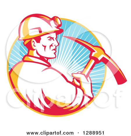 Clipart of a Retro Male Coal Miner in Profile, Holding a Pickaxe in a Yellow and Blue Circle of Sunshine - Royalty Free Vector Illustration by patrimonio