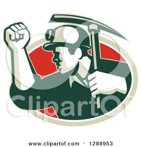 Clipart of a Retro Male Coal Miner Holding up a Fist and a Pickaxe in a Green White and Red Oval - Royalty Free Vector Illustration by patrimonio