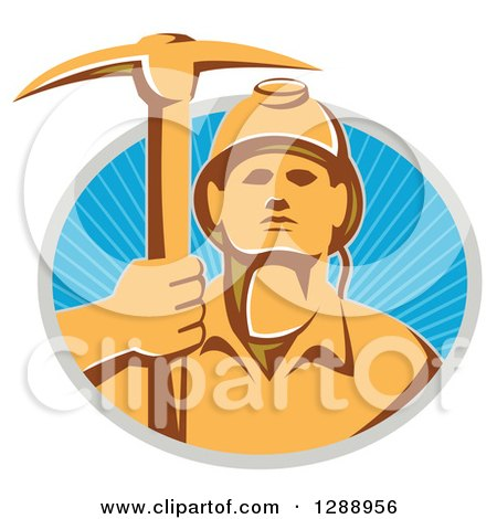 Clipart of a Retro Male Coal Miner Holding up a Pickaxe in a Gray and Blue Circle of Sunshine - Royalty Free Vector Illustration by patrimonio