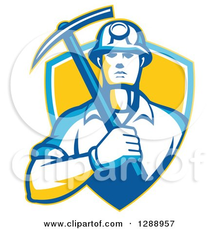 Clipart of a Retro Male Coal Miner Holding a Pickaxe in a Yellow Blue and White Shield - Royalty Free Vector Illustration by patrimonio