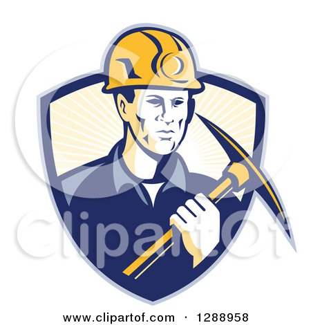 Clipart of a Retro Male Coal Miner Holding a Pickaxe in a Blue and Pastel Yellow Sunshine Shield - Royalty Free Vector Illustration by patrimonio