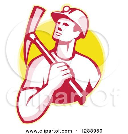 Clipart of a Retro Male Coal Miner Holding a Pickaxe over His Shoulder in a Yellow Circle - Royalty Free Vector Illustration by patrimonio