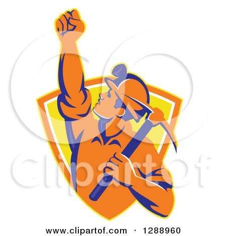 Clipart of a Retro Male Coal Miner Holding up a Fist and a Pickaxe in a Yellow and Orange Shield - Royalty Free Vector Illustration by patrimonio