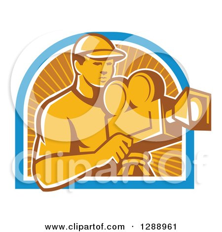 Clipart of a Retro Male Cameraman Working in a Blue White and Orange Sun Ray Arch - Royalty Free Vector Illustration by patrimonio