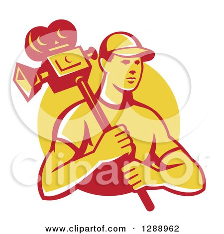 Clipart of a Retro Young Male Cameraman in a Yellow Circle - Royalty Free Vector Illustration by patrimonio