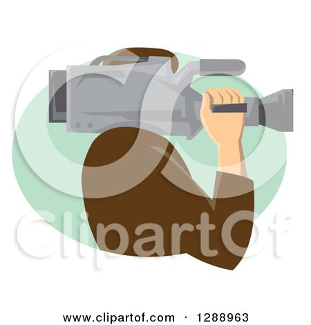 Clipart of a Side View of a Retro Male Cameraman Working in a Green Oval - Royalty Free Vector Illustration by patrimonio