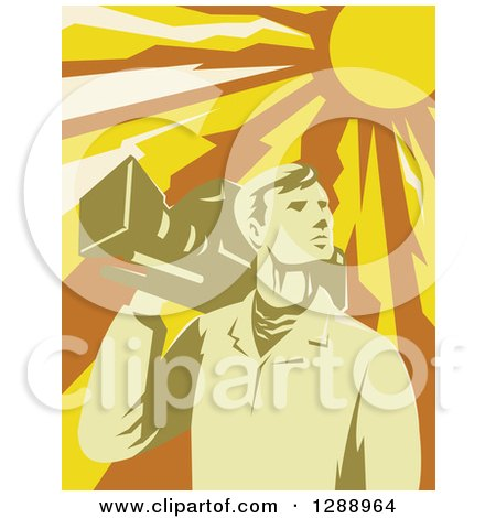 Clipart of a Retro Male Cameraman Holding a Camera on His Shoulder Under a Blazing Sun - Royalty Free Vector Illustration by patrimonio